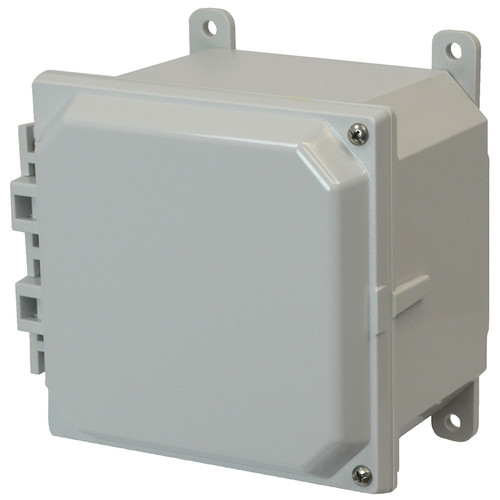 AMP664H | 6 x 6 x 4 Polycarbonate enclosure with 2-screw hinged cover