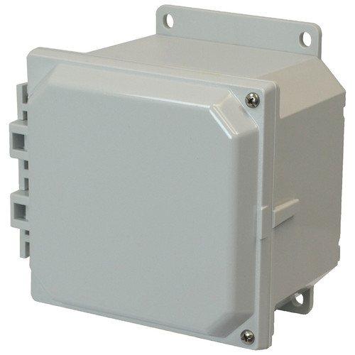 AMP664HF | 6 x 6 x 4 Polycarbonate enclosure with 2-screw hinged cover