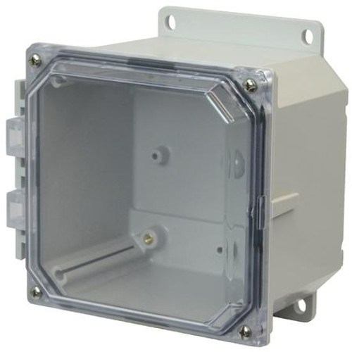 AMP664CCF | 6 x 6 x 4 Polycarbonate enclosure with 4-screw lift-off clear cover