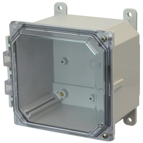 AMP664CCH | 6 x 6 x 4 Polycarbonate enclosure with 2-screw hinged clear cover