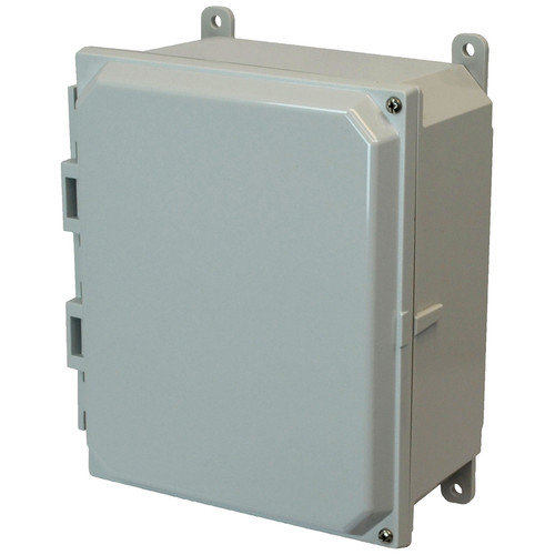 AMP864H | 8 x 6 x 4 Polycarbonate enclosure with 2-screw hinged cover