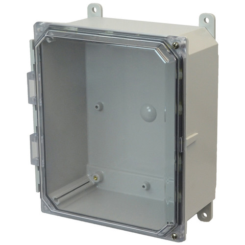 AMP864CCH | 8 x 6 x 4 Polycarbonate enclosure with 2-screw hinged clear cover