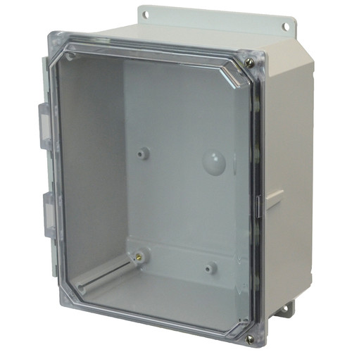 AMP864CCHF | 8 x 6 x 4 Polycarbonate enclosure with 2-screw hinged clear cover