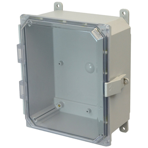 AMP864CCNL | Allied Moulded Products 8 x 6 x 4 Polycarbonate enclosure with hinged clear cover and nonmetal snap latch