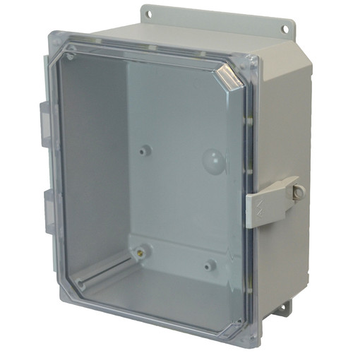 AMP864CCNLF | Allied Moulded Products 8 x 6 x 4 Polycarbonate enclosure with hinged clear cover and nonmetal snap latch