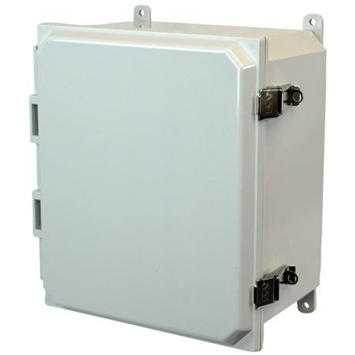 AMP1206L | Allied Moulded Products 12 x 10 x 6 Polycarbonate enclosure with hinged cover and snap latch
