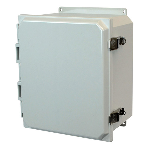 AMP1206LF | Allied Moulded Products 12 x 10 x 6 Polycarbonate enclosure with hinged cover and snap latch
