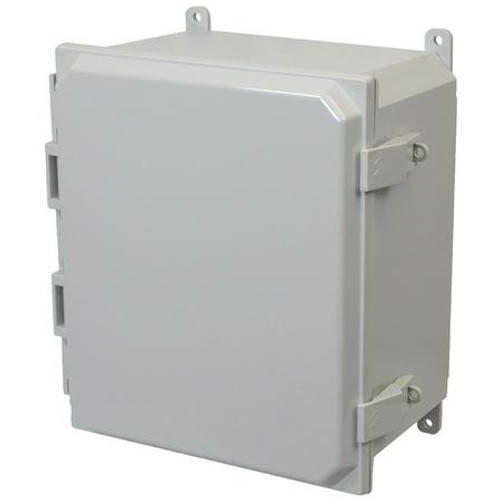 AMP1206NL | Allied Moulded Products 12 x 10 x 6 Polycarbonate enclosure with hinged cover and nonmetal snap latch