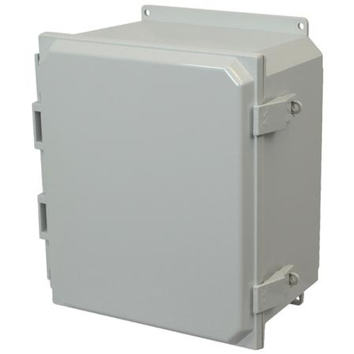 AMP1206NLF | Allied Moulded Products 12 x 10 x 6 Polycarbonate enclosure with hinged cover and nonmetal snap latch