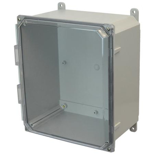 AMP1206CC | Allied Moulded Products 12 x 10 x 6 Polycarbonate enclosure with 4-screw lift-off clear cover