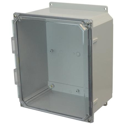 AMP1206CCF | Allied Moulded Products 12 x 10 x 6 Polycarbonate enclosure with 4-screw lift-off clear cover