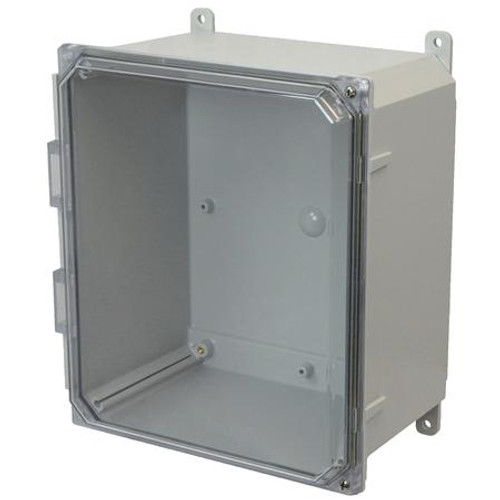 AMP1206CCH | Allied Moulded Products 12 x 10 x 6 Polycarbonate enclosure with 2-screw hinged clear cover