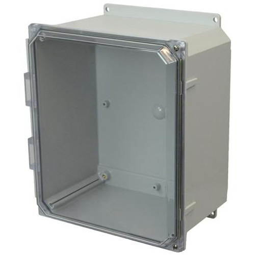 AMP1206CCHF | Allied Moulded Products 12 x 10 x 6 Polycarbonate enclosure with 2-screw hinged clear cover