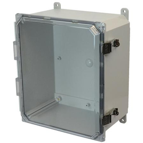 AMP1206CCL | Allied Moulded Products 12 x 10 x 6 Polycarbonate enclosure with hinged clear cover and snap latch