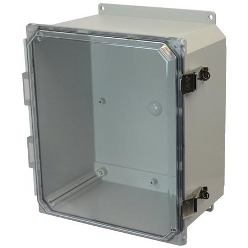 AMP1206CCLF | Allied Moulded Products 12 x 10 x 6 Polycarbonate enclosure with hinged clear cover and snap latch