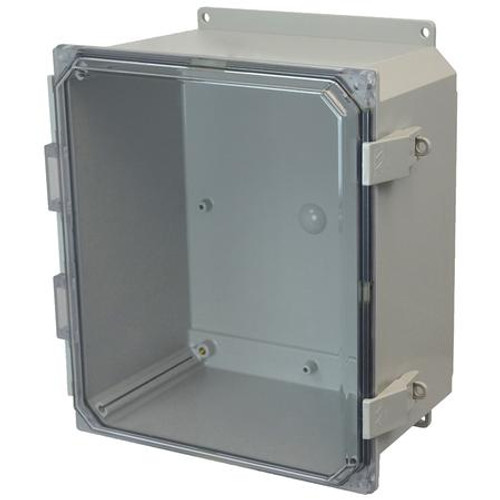 AMP1206CCNLF | Allied Moulded Products 12 x 10 x 6 Polycarbonate enclosure with hinged clear cover and nonmetal snap latch