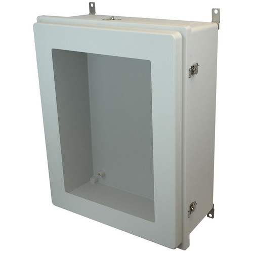 AM30248RTW | 30 x 24 x 8 Fiberglass enclosure with raised hinged window cover and twist latch
