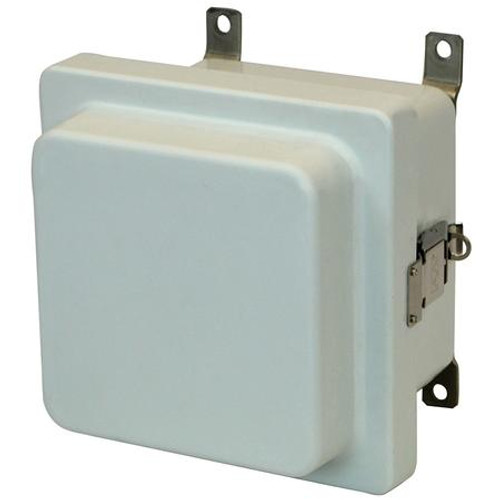 AM664RL | 6 x 6 x 4 Fiberglass enclosure with raised hinged cover and snap latch
