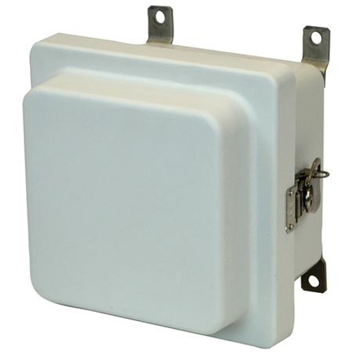 AM664RT | 6 x 6 x 4 Fiberglass enclosure with raised hinged cover and twist latch