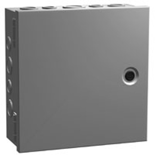 CHKO663 | 6 x 6 x 3.5 Steel Enclosure with Hinge Door and Quarter Turn with Knockouts