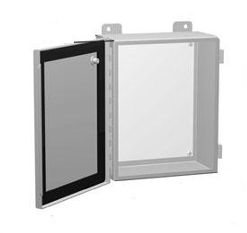 1414PHRGLP | 6 x 8 x 3.5 Steel Enclosure with Continuous Hinge Door and Clamps