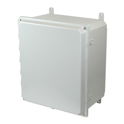 AMP1860H | Allied Moulded Products 18 x 16 x 10 Polycarbonate enclosure with 2-screw hinged cover
