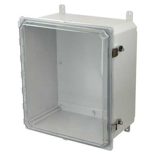 AMP1860CCL | Allied Moulded Products 18 x 16 x 10 Polycarbonate enclosure with hinged clear cover and snap latch
