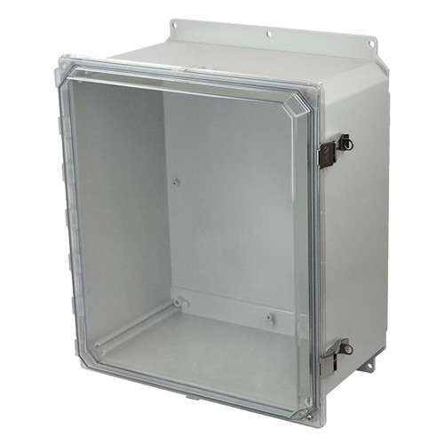 AMP1860CCLF | Allied Moulded Products 18 x 16 x 10 Polycarbonate enclosure with hinged clear cover and snap latch