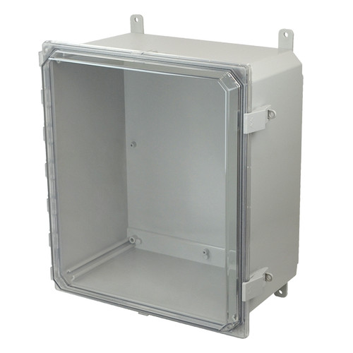 AMP1860CCNL | Allied Moulded 18 x 16 x 10 Polycarbonate enclosure with hinged clear cover and nonmetal snap latch