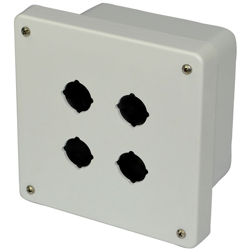 AM664P4   6 x 6 x 4 Fiberglass enclosure with 4-screw lift-off cover and 4 pushbutton holes