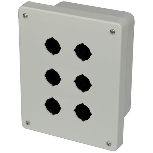 AM864P6 | 8 x 6 x 4 Fiberglass enclosure with 4-screw lift-off cover and 6 pushbutton holes