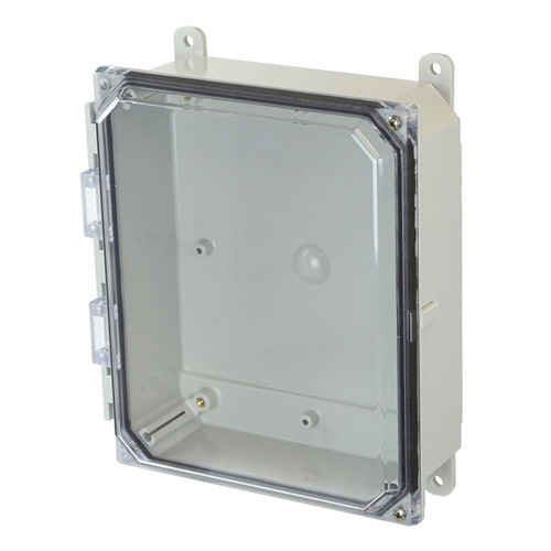 AMP1082CCH | Allied Moulded Products 10 x 8 x 2 Polycarbonate enclosure with 2-screw hinged clear cover