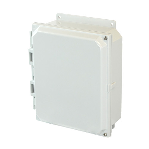 AMP1082HF | 10 x 8 x 2 Polycarbonate enclosure with 2-screw hinged cover