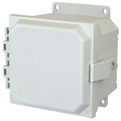 AMU664NLF | 6 x 6 x 4 Fiberglass enclosure with hinged cover and nonmetal snap latch