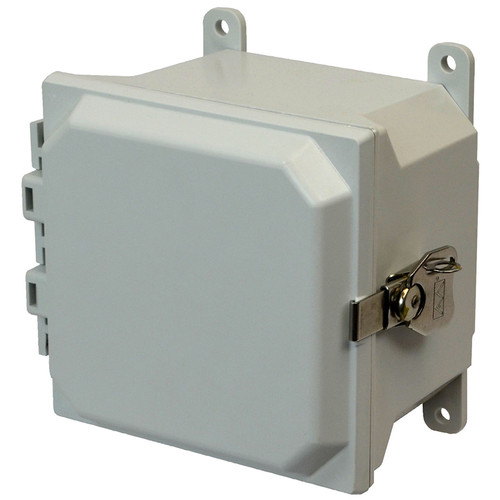 AMU664T | 6 x 6 x 4 Fiberglass enclosure with hinged cover and twist latch