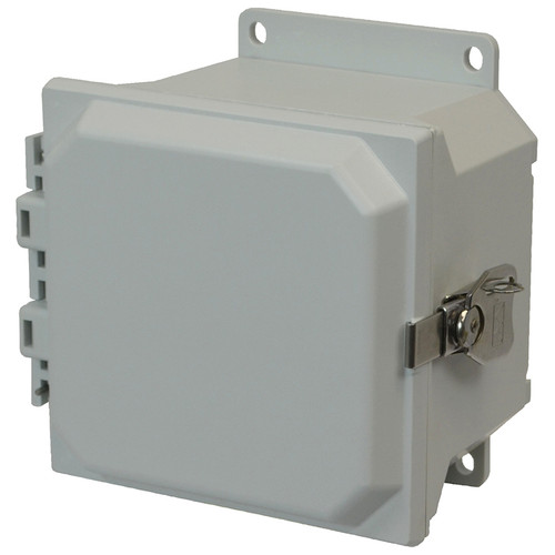 AMU664TF | 6 x 6 x 4 Fiberglass enclosure with hinged cover and twist latch