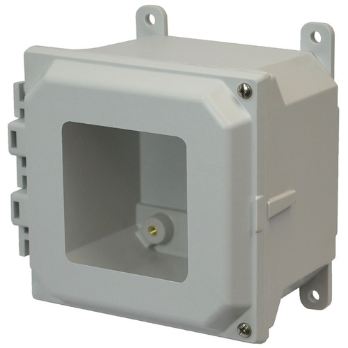 AMU664HW | 6 x 6 x 4 Fiberglass enclosure with 2-screw hinged window cover