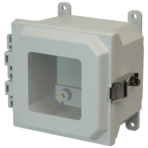 AMU664LW   6 x 6 x 4 Fiberglass enclosure with hinged window cover and snap latch