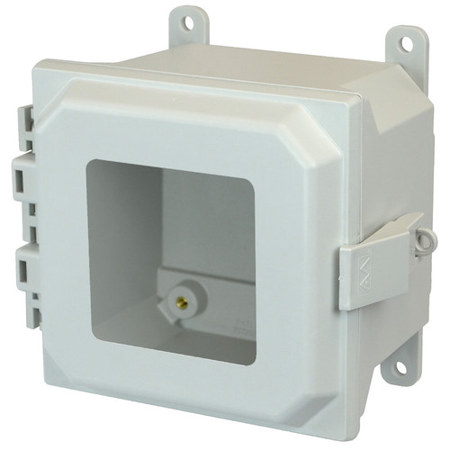 AMU664NLW | 6 x 6 x 4 Fiberglass enclosure with hinged window cover and nonmetal snap latch