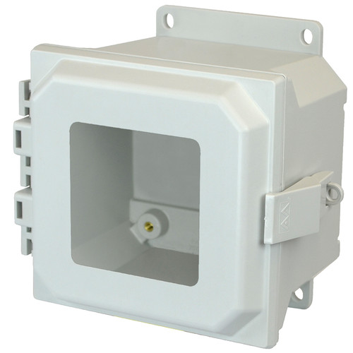 AMU664NLWF | 6 x 6 x 4 Fiberglass enclosure with hinged window cover and nonmetal snap latch
