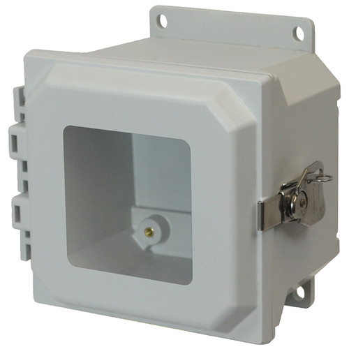 AMU664TWF | 6 x 6 x 4 Fiberglass enclosure with hinged window cover and twist latch