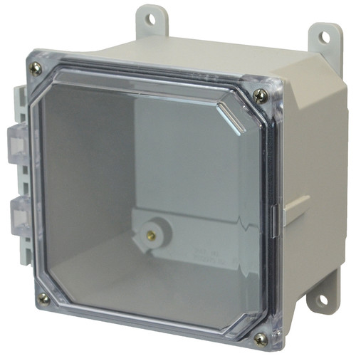 AMU664CC | 6 x 6 x 4 Fiberglass enclosure with 4-screw lift-off clear cover