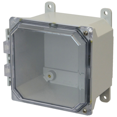 AMU664CCH | 6 x 6 x 4 Fiberglass enclosure with 2-screw hinged clear cover