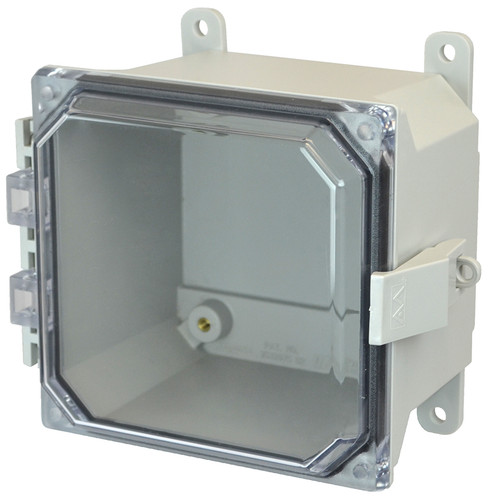 AMU664CCNL | 6 x 6 x 4 Fiberglass enclosure with hinged clear cover and nonmetal snap latch