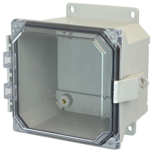 AMU664CCNLF | 6 x 6 x 4 Fiberglass enclosure with hinged clear cover and nonmetal snap latch