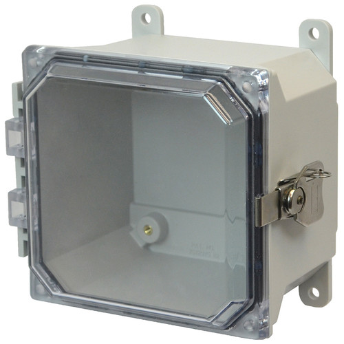 AMU664CCT | 6 x 6 x 4 Fiberglass enclosure with hinged clear cover and twist latch