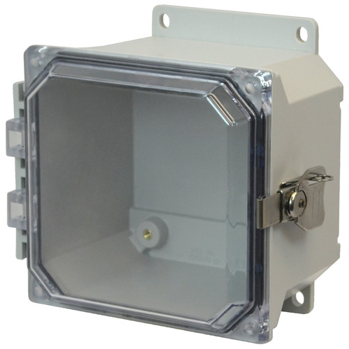 AMU664CCTF | 6 x 6 x 4 Fiberglass enclosure with hinged clear cover and twist latch