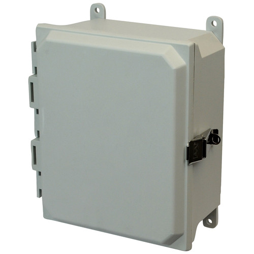 AMU864L | 8 x 6 x 4 Fiberglass enclosure with hinged cover and snap latch