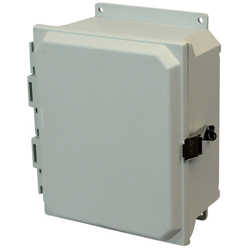 AMU864LF | 8 x 6 x 4 Fiberglass enclosure with hinged cover and snap latch