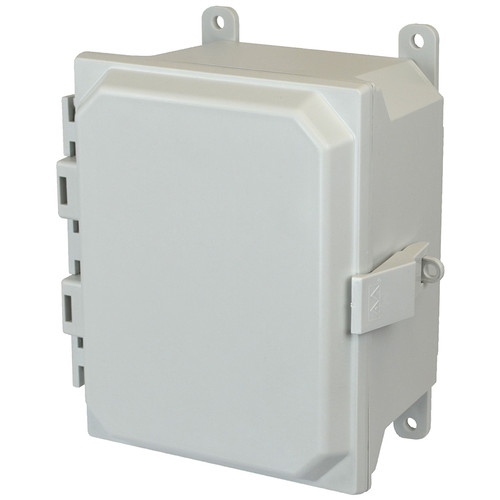 AMU864NL | 8 x 6 x 4 Fiberglass enclosure with hinged cover and nonmetal snap latch